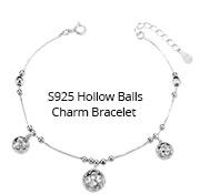 S925 Hollow Balls Charm Bracelet