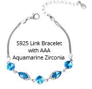 S925 Link Bracelet with AAA Aquamarine Zirconia