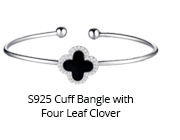 S925 Cuff Bangle with Four Leaf Clover