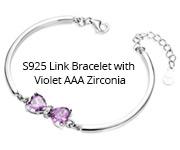 S925 Link Bracelet with Violet AAA Zirconia